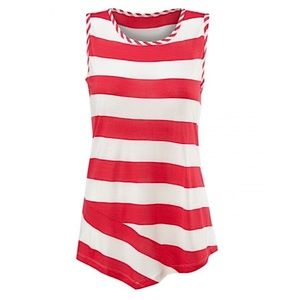 CABI | Red White Carousel Blouse Top Small